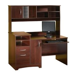 Cherry computer desk with hutch is one kind of product you must select for your home or office environment. It becomes a cheap personal computer desk. Computer Center, Home Office Computer Desk, Wood Computer Desk, Buy Computer, Laptop Desk, Home Desk, Home Office Organization, Office Storage, Organizing Ideas