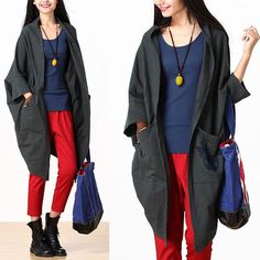 Gray loose big pocket shirt / bat sleeve cotton by dreamyil, $108.00