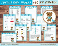 Teddy bear Baby shower SPANISH --> Bundle x 10 games + Table Signs x 10 - Printable - Instant downlo Teddy Bear Baby Shower, Baby Shower Niño, Baby Shower Games, Baby Shower Parties, Elephant Game, Juegos Baby, Boy Printable, Printables, Baby Word Scramble