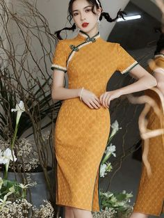 Shop Yellow Red Dots Linen Cheongsam Qi Pao Dress at imallure.com. A wide collection of high quality qipao & cheongsam in various style. New arrivals daily. FREE INTERNATIONAL SHIPPING. Orange Red, Yellow, Cheongsam, Red Dots, Mandarin Collar, Body Measurements, Dark Grey, High Neck Dress, Casual
