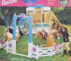 "Barbie ""RIDING CLUB"" RIDING STABLE PLAY SET Playset w CORRAL, FENCE RAILS & More! (1996) by Mattel. $299.99. Fold-Out Stalls become Feeding Area! Fence Rails detach! Opens into Roomy Corral! Store Grooming Accessories in the Tack Room!. *Box has shelf wear & small creases, & 2 paper scrapes on front. For MORE BOX CONDITION see CONDITION NOTE or Email Seller for Details.. Barbie Riding Club Riding Stable Play Set is a 1996 Mattel production. Box approx. 14-1/2"" x 13"" x 4-3/4""..."