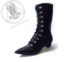 Goth Pikes  Cuban Heels Long Lace-Up Eyelits   boots by GothPikes