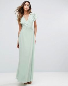New Look Ruffle Sleeve Wrap Maxi Dress mint asos