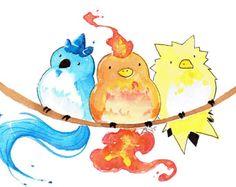 Cute Pokemon Articuno Moltres Zapdos Watercolor Art Print (Great as birthday cards!) USD) by MeepPaintings Pokemon Fan Art, Pokemon Pins, Play Pokemon, Cute Pokemon, Pokemon Faces, Pokemon Craft, Pokemon Mignon, Tumblr Funny, Watercolor Art