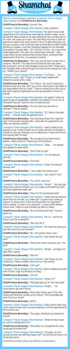 A conversation between Child!Francis Bonnefoy and *vampire* Flavio Vargas (Yes=starter)