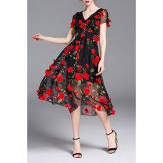 V Neck Waisted Rose Applique Dress (€61) ❤ liked on Polyvore featuring dresses, rosebud dresses, v-neck dresses, rosette dress, mid calf dresses and midi dress