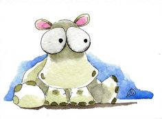 ACEO Original watercolor painting Lucia Stewart whimsical wild animal Hippo #IllustrationArt