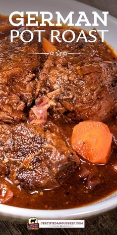 A classic meal of oven braised chuck roast and red cabbage German Pot Roast is rich and hearty with onions carrots German mustard and dark beer. Chuck Roast Recipes, Best Beef Recipes, Pot Roast Recipes, Beef Recipes For Dinner, Meat Recipes, Crockpot Recipes, Cooking Recipes, Favorite Recipes, Healthy Recipes