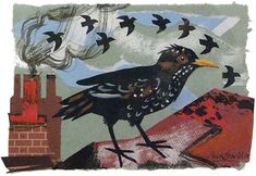 Starlings by Mark Hearld Collage Artists, Plant Illustration, Nice Art, Starling, Rook, Wildlife Art, Ravens, Pigeon, Altered Art