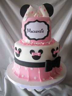 Minnie Mouse cake I made for a second birthday. Chocolate cake with vanilla buttercream. This was not my design. It was presented to me by my client. Mickey And Minnie Cake, Minnie Mouse Cookies, Bolo Minnie, Disney Themed Cakes, Disney Cakes, Minnie Birthday, Birthday Cake Girls, Friends Cake, Minnie Mouse Baby Shower