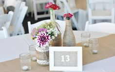 Burlap and Lace Centerpiece by Country Girl Collections