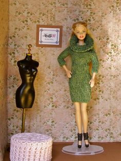Green Knit Barbie Sweater Dress with Black Shoes. Handmade Doll Gown. Chic Chick Clothing