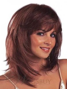 Messy Bob Medium Straight Layered Synthetic Hair With Bangs Capless Wigs 14 Inches Medium Layered Hair, Medium Hair Cuts, Short Hair Cuts, Medium Hair Styles, Curly Hair Styles, Long Layered, Shoulder Length Hair Cuts With Layers, Medium Curly, Cheap Human Hair Wigs