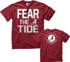 Alabama Crimson Tide Cardinal Fear T-Shirt by New Agenda. $17.99. Screen print graphics. Machine washable. New Agenda Short Sleeve T-Shirt. 100% Cotton. Rib knit collar. Add this Alabama Crimson Tide Cardinal Fear T-Shirt to your ever growing collection of Crimson Tide apparel today. Brought to you by New Agenda, this Alabama Crimson Tide t-shirt features bold screen print graphics and is made from 100% cotton. Show everyone that you are a die-hard Crimson Tide fan with this...