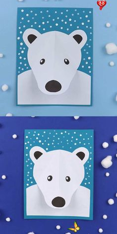 3D Polar bear portrait Ours polaire<br> Bee Crafts For Kids, Winter Crafts For Kids, Winter Activities For Kids, Preschool Winter, Winter Art Projects, Kids Diy, Spring Crafts, Garden Projects, Printable Activities For Kids