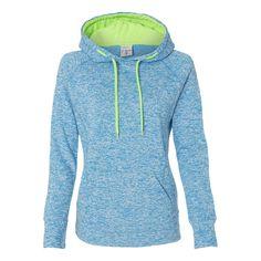 new product 35798 4b204 J. America Women s Electric Blue Neon Green Cosmic Fleece Contrast Hoo Hooey  Hats,