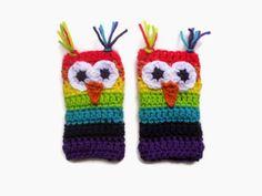Rebel Skein: Rainbow Owl Fingerless Gloves