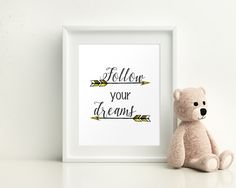 Wall Decor Follow Your Dreams Printable Follow Your Dreams Prints Follow Your Dreams Sign Follow Your Dreams  Printable Art Follow Your #giftidea #birthdaygiftideas #housewarminggift