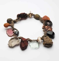 kleidersachen:        Iris Bodemer, Neckpiece: Untitled 2008 Rutilated quartz, agate, aventurine, iron, copper, jet, wood, pearl, glass, jasper, silver, silicon, rhodochrosite, amber, fossil, nylon, woolFrom the work Ingredients via Klimt