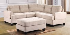 The+G511+Living+Room+Sectional+Set+by+Glory+Furniture+features+beige+suede,+comfortable+tufted+seating,+track+arms+and+removable+backs.