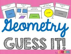 """Geometry """"Guess It!"""" The game is similar to """"Taboo"""" - students are required to describe the geometric term shown without using certain words. The game is not only fun, but it really forces students to use their math vocabulary and be creative at the same time! I have included two versions of the game: one that you can use to play as a class, and another that can be cut out into cards and used in small groups or centers. 5.G.B.3, 5.G.B.4, 4.G.A.2, 4.G.A.3"""