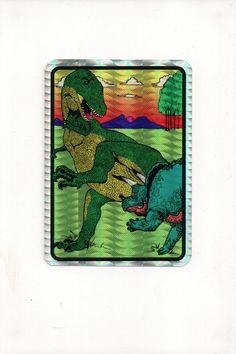 90s Dinosaur Vending Machine Prism Jewel Sticker Vintage