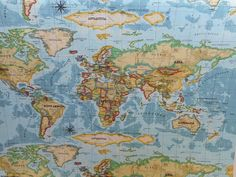 Atlas Prestigious Textiles Azure 100% Cotton Fabric Curtains Craft World Map