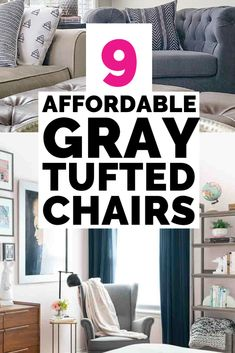 Looking for a gray tufted accent chair that's also affordable? This post has 9 o. Affordable Rugs, Affordable Home Decor, Cheap Home Decor, Upholstered Chairs, Manufactured Home Remodel, Decorating Small Spaces, Interior Decorating, Decorating Ideas, Ideas