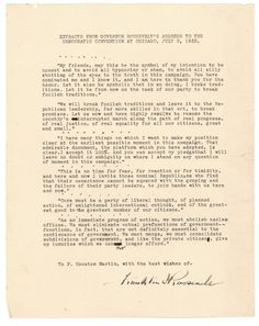 Franklin Delano Roosevelt Accepts the Presidential Nomination  $7,500