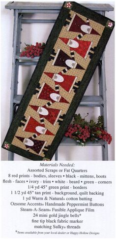 Topsy turvy Santa table runner - lots of patterns