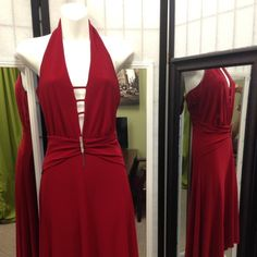 Sexy Evening Dress Sexy Wine Red Evening Dress with a Halter Neckline Midi Party Dress . The Perfect Dress for Valentine's Day.♥💕💛💚♥♥♥♥💗. Demore Dresses Midi