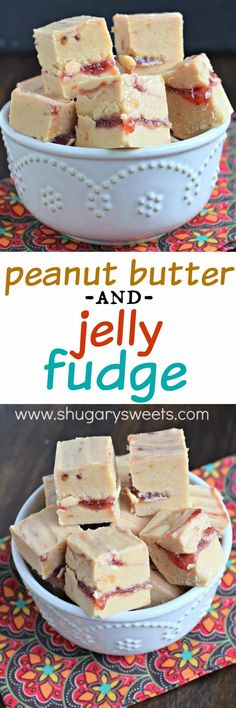 You're going to love this Peanut Butter and Jelly Fudge. Creamy peanut butter fudge (or crunchy if you use crunchy PB) with a thick swirl of jelly inside! Can infuse by adding infused butter Peanut Butter Fudge, Peanut Butter Recipes, Fudge Recipes, Candy Recipes, Sweet Recipes, Dessert Recipes, Jello Recipes, Blender Recipes, Fantastic Fudge Recipe