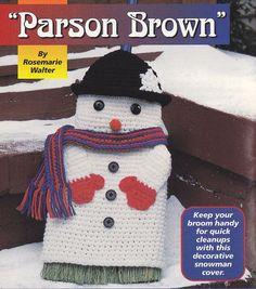 Snowman Broom Cover Crochet Pattern