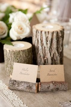 Rustic wedding centerpieces Tree stump with tea light sunk into it. I plan to use the tree we are cutting down in our backyard to do this.