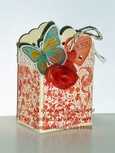 Stampin Along With Heidi: Scalloped Tag Topper punch---making the box! Step by Step instructions on website!