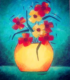aprendendo o sombreado do vaso, o degradê do fundo e luzes nas flores...