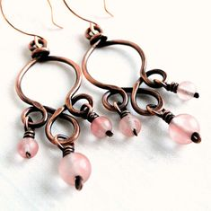 Pink, Wire Wrapped, Handcrafted, Copper, Chandelier Earrings
