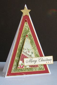Triangle-shaped Christmas tree card by Studio at the Lake: Sun. Nov. 6, 2011 Triangle for JUGS 109 Challenge