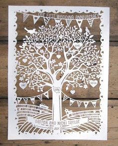 Personalised Family Tree / Wedding Anniversary Papercut Template PDF for Handcutting or SVG for Machine Cutting Silhouette Cameo Cricut First Wedding Anniversary Gift, Paper Anniversary, Anniversary Ideas, Silhouette Store, Silhouette Cameo, Silhouette Studio, Paper Cutting Templates, Personalised Family Tree, Kirigami