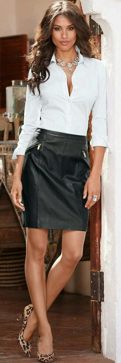 40 Best White Shirt and Leather Skirt for Business Women Woman Skirts business woman leather skirt Skirt Outfits, Sexy Outfits, Dress Skirt, Fashion Outfits, Dress Fashion, Sexy Skirt, Best White Shirt, White Shirts, Fashion Moda