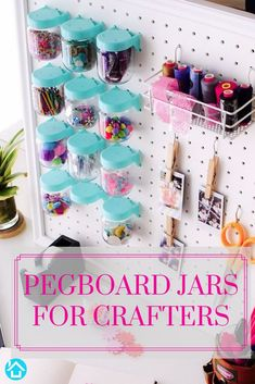 Organize your craft corner with these durable and crush-resistant jars. It features a ¼ turn lock system that makes it ideal for one-handed use and it fits both and pegboards. Pegboard Craft Room, Sewing Room Organization, Cricut Craft Room, Craft Rooms, Organization Ideas, Painted Pegboard, Storyboard, Style Board, Baby Jars