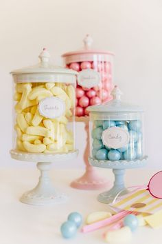 Love is Sweet Valentine's Party by Sharnel Dollar Jars on tiny cake plates Candy Jars, Candy Buffet, Bonbons Pastel, Bar A Bonbon, Pastel Candy, Pastel Kitchen, Candy Store, Cake Plates, Pretty Pastel