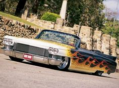 1963 Cadillac Deville Lowrider with flame paint job. Sweet!