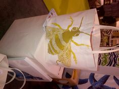 Sweet bee silkscreened on to a canvas bag! NYC