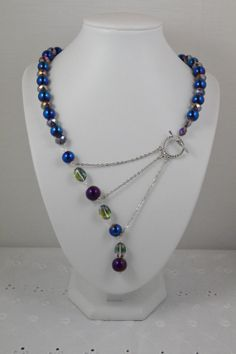 Purple Crystal and Metallic Peacock Blue Signature Necklace by adrienneadelle on Etsy, $55.00
