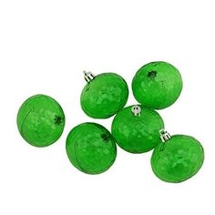 Felices Pascuas Collection 6ct Green Transparent Shatterproof Hammered Disco Ball Christmas Ornaments 2.5 inch (60mm)