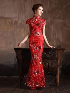 Cheongsam Mermaid Floor-length Sequined Wedding Dress - USD $ 155.00