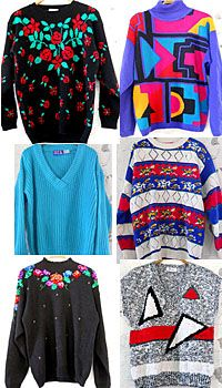 Sweaters of the 80's--I had many like these. What was my mom thinking?!