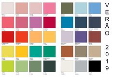 Cartela de cor verao 2019-1 Color Trends, Pantone, Summer, Mood, Crochet, Outfits, Fashion, Summer Fashion Trends, Color Fashion