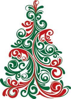 Red And Green Swirl Christmas Tree Instant By